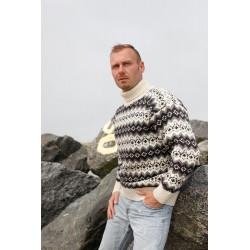 Islandsk sweater af 100% ren uld -  hvid