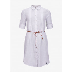 W Linen Pleat Shirt Dress - Pelle P